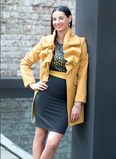Coat dres con rouches Cannella autunno inverno 2014