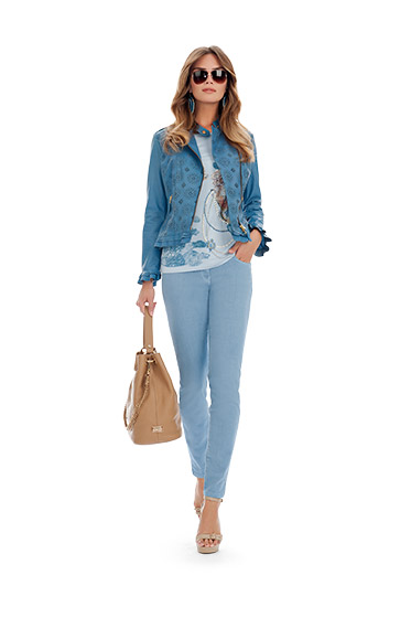 Giacca jeans stampata Luisa Spagnoli primavera estate 2014