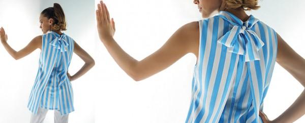 Nara Camicie primavera estate blusa particolare con fiocco dietro
