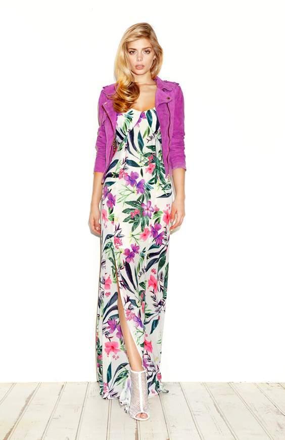Abito lungo a fiori guess con spacco moda con stile online - Fiori da giardino primavera estate ...
