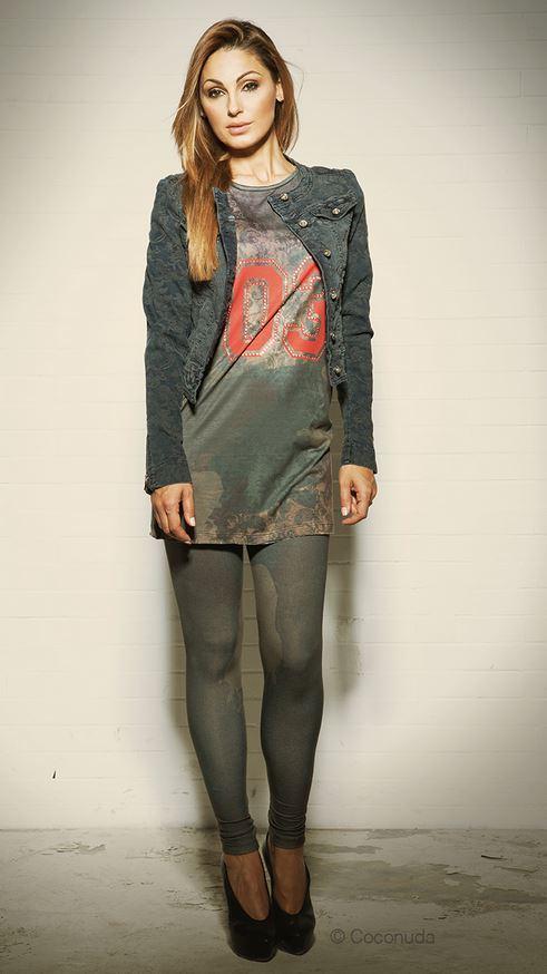 Giubbino jeans e leggings camouflage Coconuda autunno inverno 2013 2014