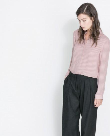 Camicia rosa rigata Zara