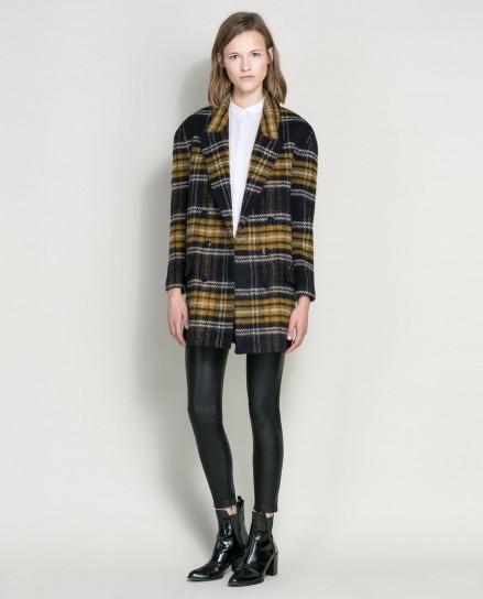 Cappotto di lana a quadri Zara