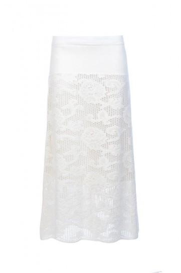 Longuette bianca con rose Luisa Spagnoli autunno inverno 2013 2014