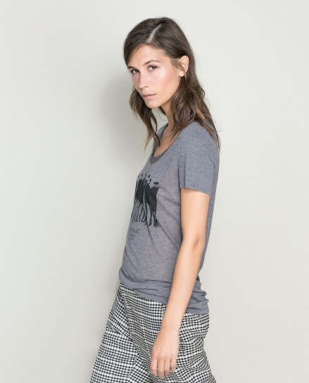 Maglia grigia stampata Zara