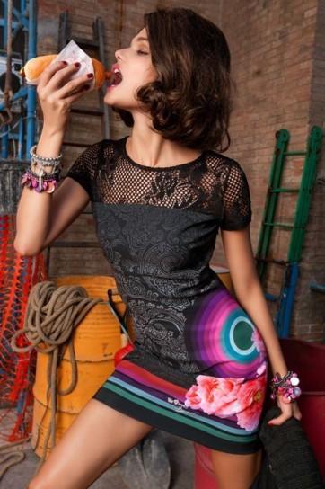 Mini abito con corpetto in rete Desigual