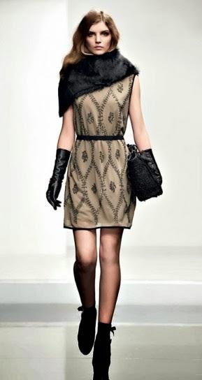 Abito con ricami paillettes collezione abbigliamento Twin Set autunno inverno 2014