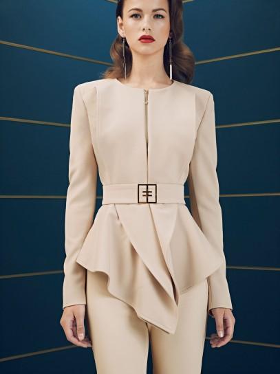 Giacca con cintura e volant Elisabetta Franchi collezione autunno inverno 2014