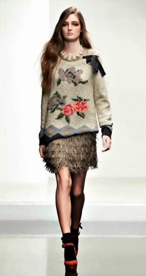 Maglione con fiori collezione abbigliamento Twin Set autunno inverno 2014