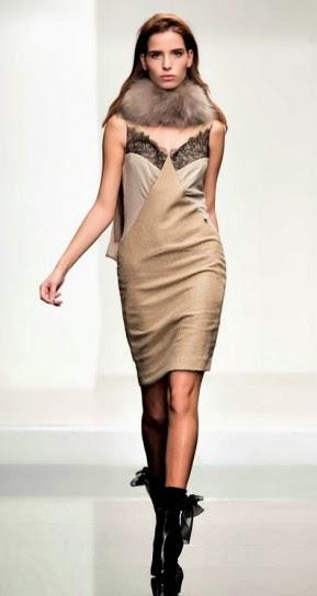 Vestito oro con pizzo nero collezione abbigliamento Twin Set autunno inverno 2014