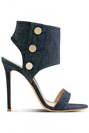Sandali open toe denim Sergio Rossi primavera estate 2014