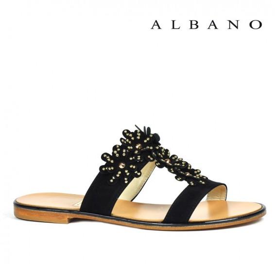 Sandaletto nero a listini con applicazione gioiello Albano primavera estate