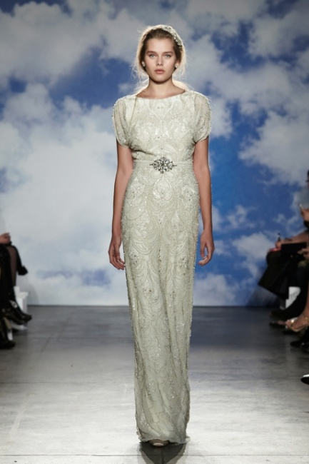 Abito da sposa ricamato con cintura gioiello Jenny Packham 2015