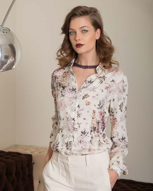 And Camicie camicia di seta stampa fiori
