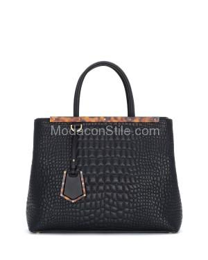 Fendi autunno inverno 2014 2015 Black Croc Stitched 2Jours Tote Bag