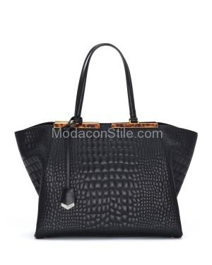 Fendi autunno inverno 2014 2015 Black Croc Stitched 3Jours Tote Bag