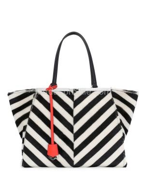 Fendi autunno inverno 2014 2015 Black White Chevron Shearling 3Jours Tote Bag