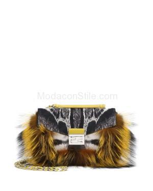 Fendi autunno inverno 2014 2015 BlackWhiteYellow Fur and Leopard Print Calf Hair Be-Ba