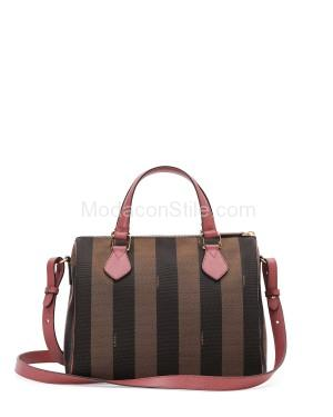 Fendi autunno inverno 2014 2015 Brown Pink Pequin Boston Small Bag