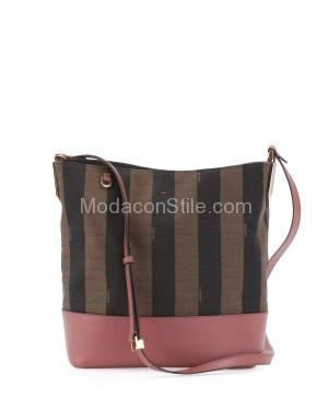 Fendi autunno inverno 2014 2015 Brown Pink Pequin Small Bucket