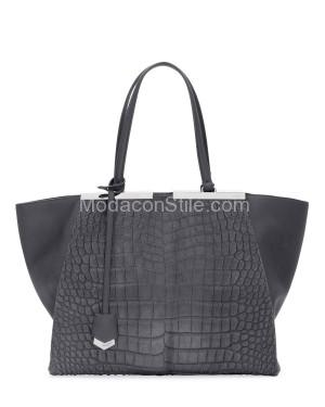 Fendi autunno inverno 2014 2015 Gray Calf Hair Croc Tote Bag