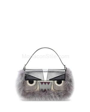 Fendi autunno inverno 2014 2015 Gray Metallic Fur Monster Baguette Bag