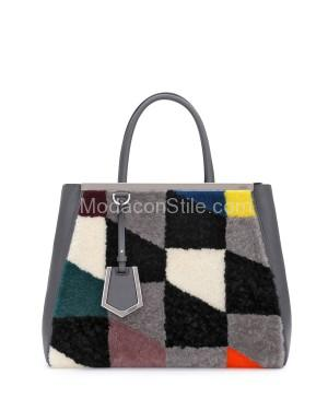 Fendi autunno inverno 2014 2015 Gray Shearling 2Jours Tote Medium Bag