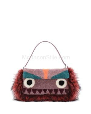 Fendi autunno inverno 2014 2015 Purple Multicolor Shearling Fur Monster Baguette Bag