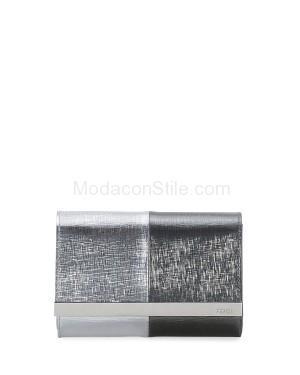 Fendi autunno inverno 2014 2015 SilverBlack Rush Mini Metallic Clutch Bag