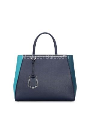 Fendi autunno inverno 2014 2015 Teal Bicolor 2Jours Medium Tote Bag