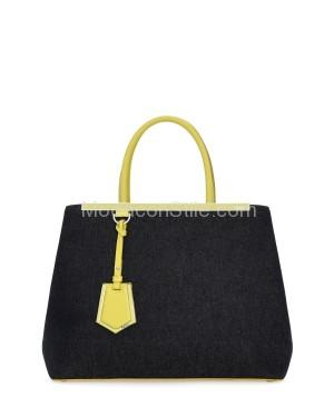 Fendi autunno inverno 2014 2015 Yellow Denim 2Jours Medium Tote Bag