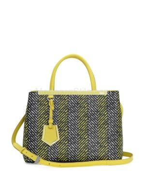 Fendi autunno inverno 2014 2015 Yellow Printed 2Jours Mini Tote Bag