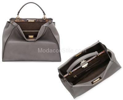 Satchel bag peekaboo light grey Fendi autunno inverno 2014 2015
