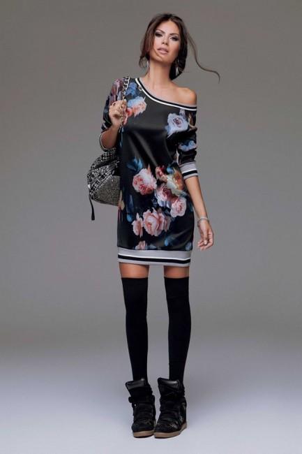 Mini abito monospalla fiori Denny Rose autunno inverno 2014 2015