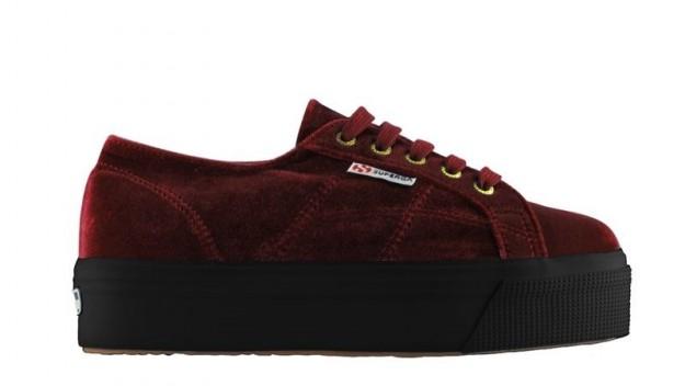 Sneakers in velluto bordeaux Superga scarpe autunno inverno 2014 2015
