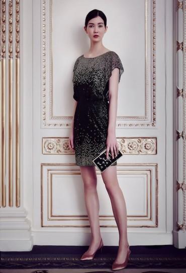 Jenny Packham minidress nero e oro