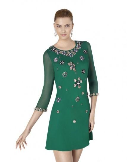 Vestito verde con applicazioni