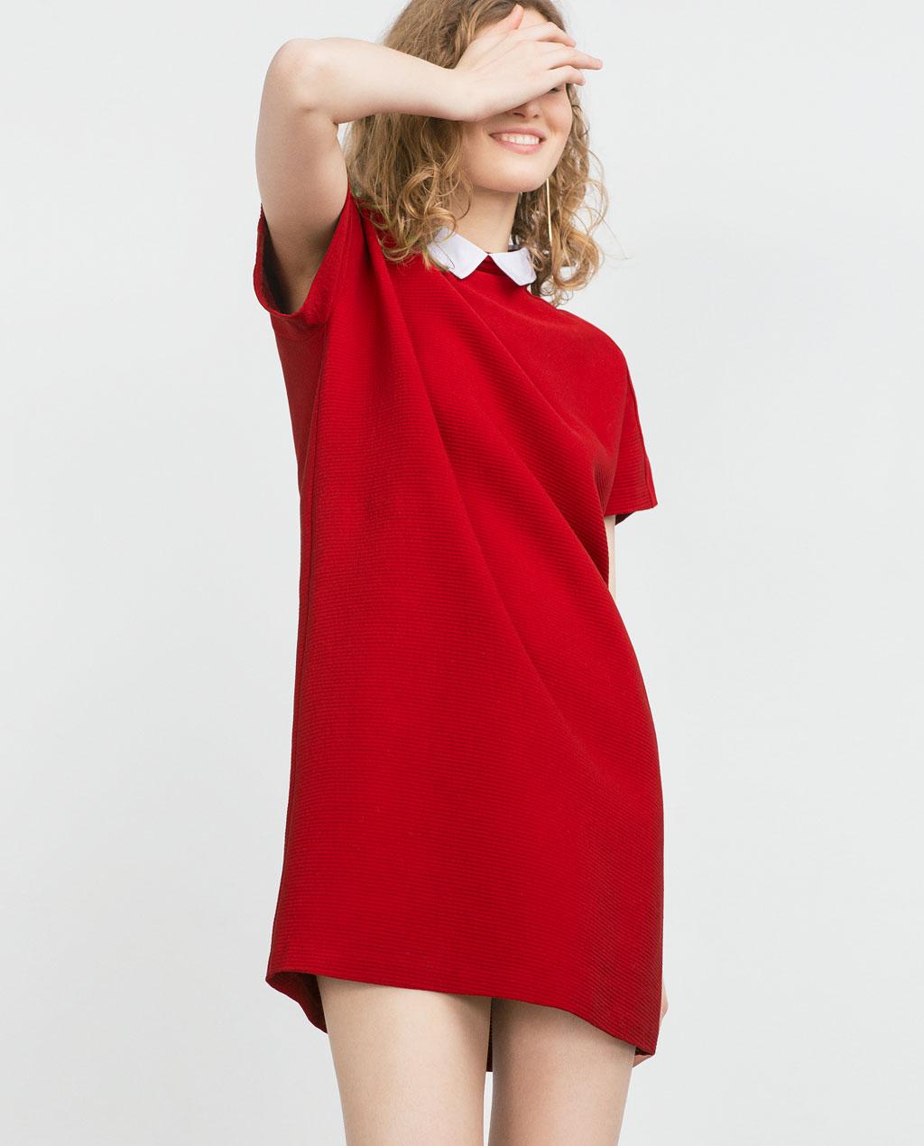 f7452d692c1c Abito rosso con colletto Zara primavera estate 2016
