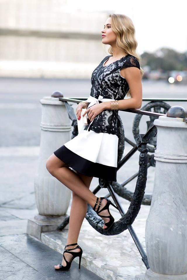 Cannella abito svasato bianco nero