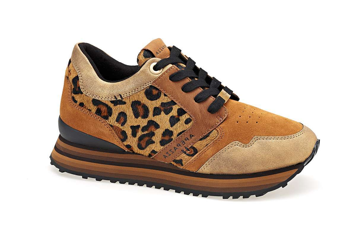 Sneakers Color Zafferrano Con Inserto Animalier Apepazza Autunno Inverno 2017