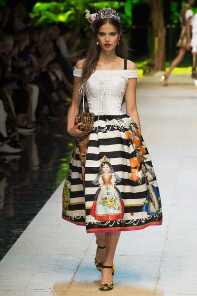 Dolce&Gabbana gonna ampia a righe bianconere con stampe