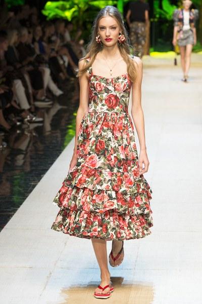 Dolce&Gabbana vestito con stampe fiorite rosse