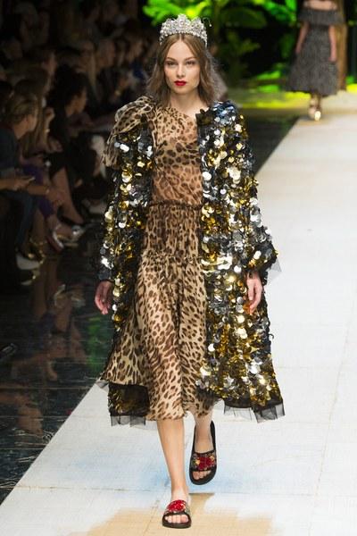 Dolce&Gabbana vestito animalieur con giacca in paillettes