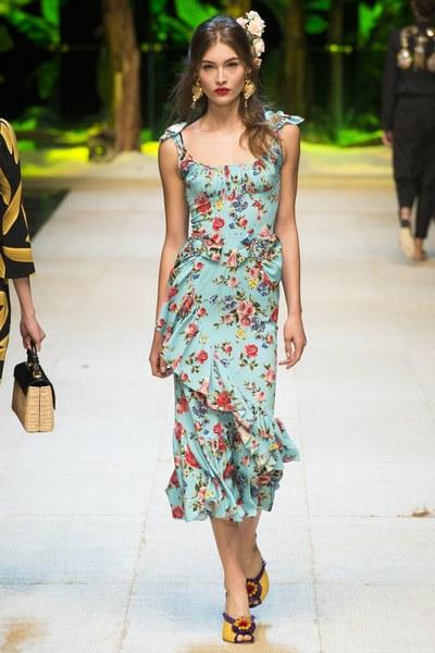 Dolce&Gabbana vestito azzurro con stampe fiorite smanicato