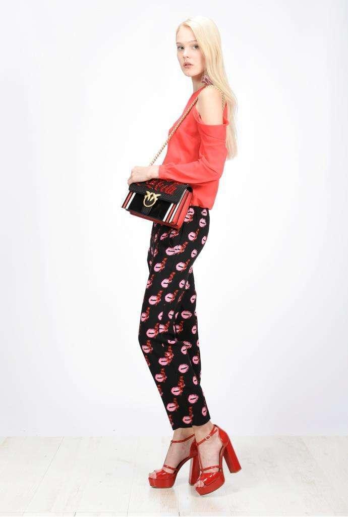 Pinko Pantalone Con Bocche Rosa