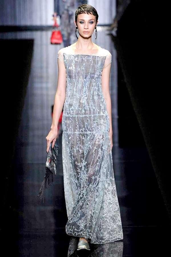 Long Dress Con Foliage Giorgio Armani