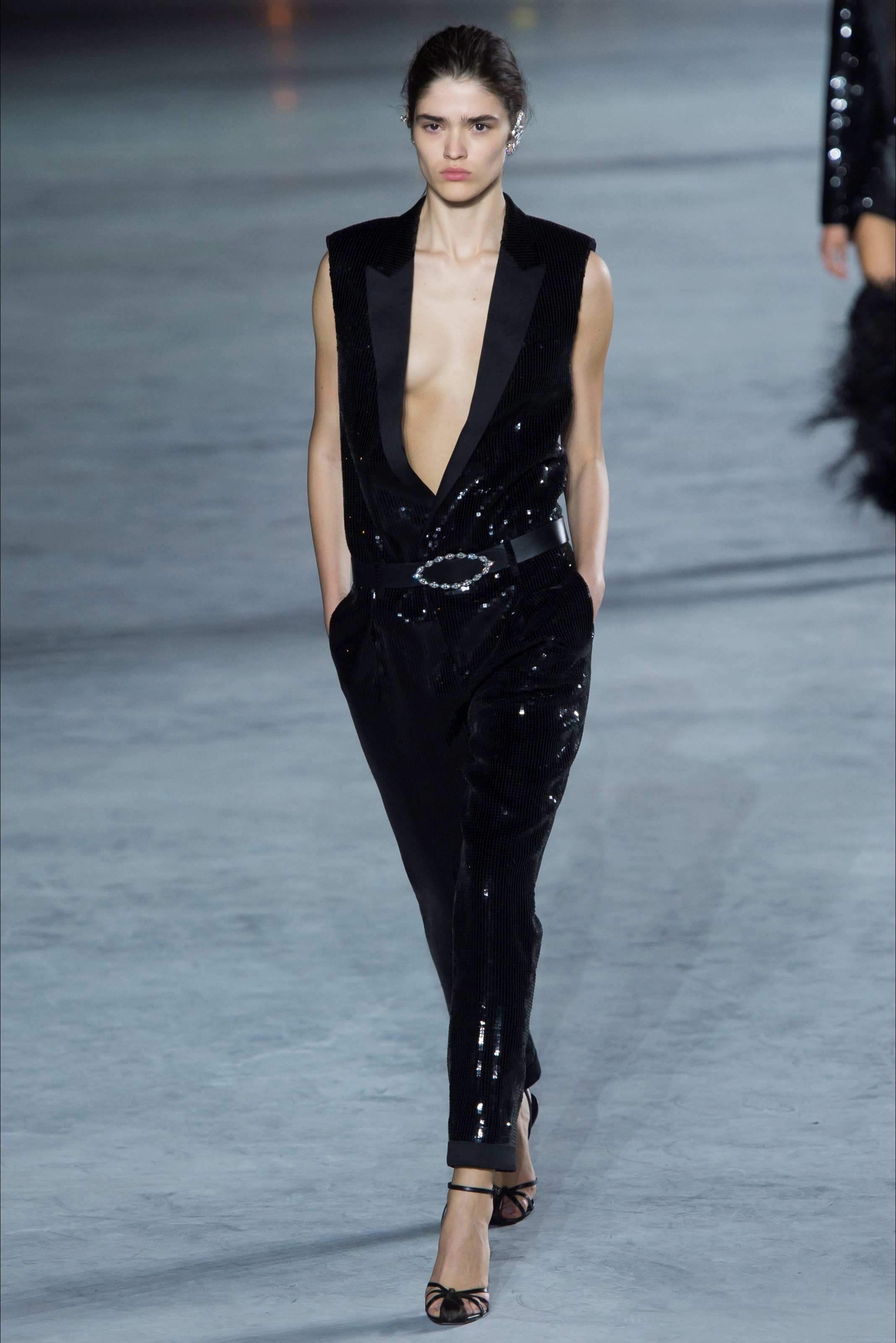Tuta Nera Brillante Saint Laurent